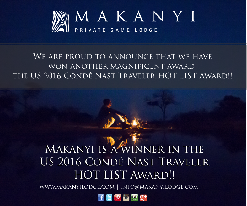 Makanyi Lodge wins the 2016 Annual HOT LIST Award